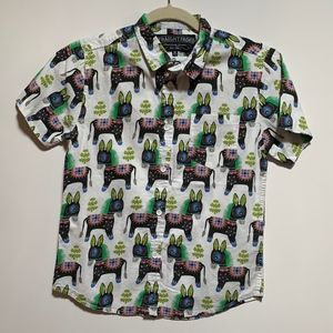 Straight Faded  Donkey Print Button down Polo